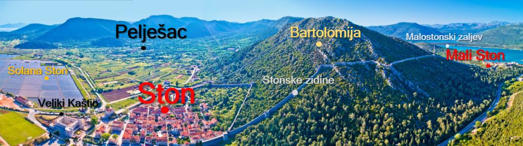 Slika prikazuje fotografiju Pelješca i općine Ston s pripadajućim geografskim imenima.