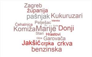 Slika prikazuje nekoliko različitih geografskih imena.