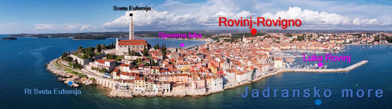 Slika prikazuje fotografiju grada Rovinja s pripadajućim geografskim imenima.